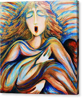 Canvas Print featuring the greeting card Angel Singing by Rae Chichilnitsky