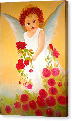 Angel Surrounded By Red Roses Canvas Print by Xafira Mendonsa