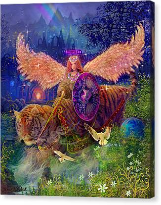 Green Fairy Canvas Print - Angel Tarot Card Angel Fairy Dream by Steve Roberts