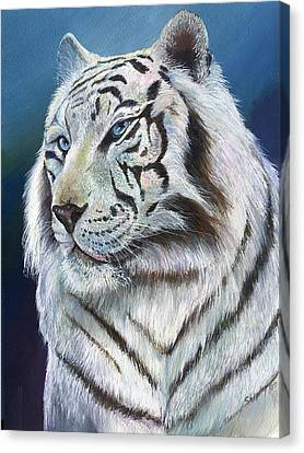 Canvas Print featuring the painting Angel The White Tiger by Sherry Shipley