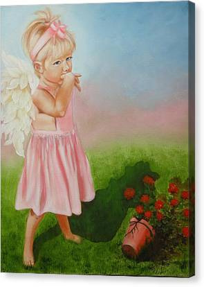 Canvas Print featuring the painting Angel Thumbs by Joni McPherson