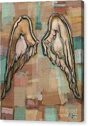 Canvas Print featuring the painting Angel Wings by Carrie Joy Byrnes