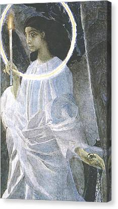 Angel With A Candle Canvas Print by Mikhail Aleksandrovich Vrubel