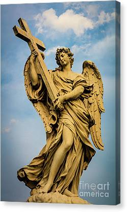 Angel With Cross Canvas Print by Inge Johnsson