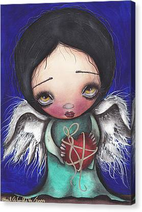 Angel With Heart Canvas Print by  Abril Andrade Griffith