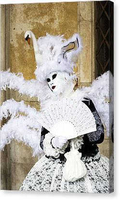 Angel With Swan Detail 2015 Carnevale Di Venezia Italia Canvas Print by Sally Rockefeller