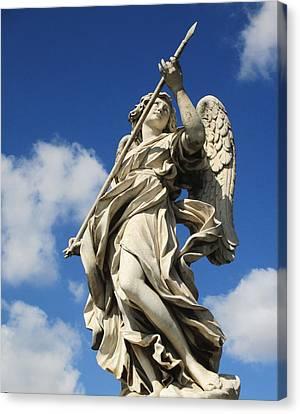 Angel With The Lance Canvas Print by Leena Kewlani