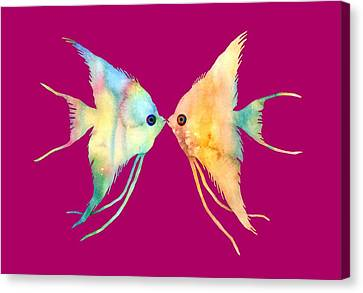 Tropical Fish Canvas Print - Angelfish Kissing by Hailey E Herrera