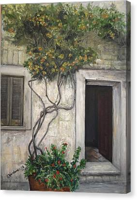 Canvas Print featuring the painting Angelika's Italian Door by Sandra Nardone