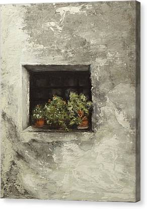 Canvas Print featuring the painting Angelika's Italian Window by Sandra Nardone