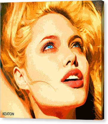Canvas Print featuring the digital art Angelina by John Keaton