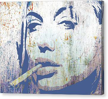 Gold Star Mother Canvas Print - Silver Screen Angelina Jolie Smoking by Tony Rubino
