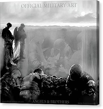 Angels And Brothers Black And White Canvas Print by Todd Krasovetz