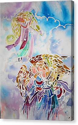 Canvas Print featuring the painting Angels Assending by AnnE Dentler