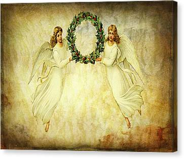 Canvas Print featuring the mixed media Angels Christmas Card Or Print by Bellesouth Studio