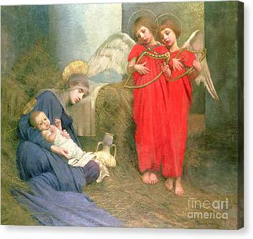 Christmas Cards Canvas Print - Angels Entertaining The Holy Child by Marianne Stokes