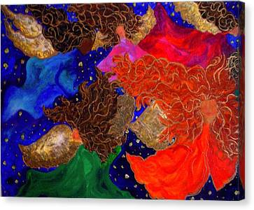 Canvas Print featuring the painting Angels In The Night Sky by Laura  Grisham
