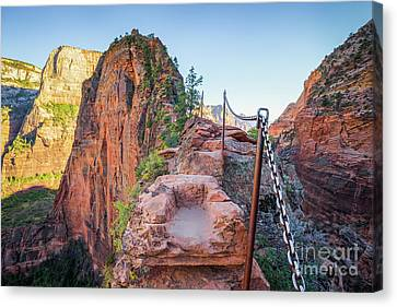 Angels Landing Hiking Trail Canvas Print by JR Photography