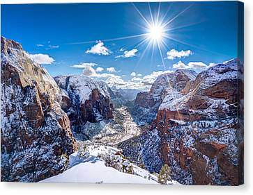 Angels Landing In Winter Canvas Print