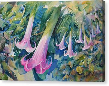Angels Trumpets I Canvas Print by Marilyn Young