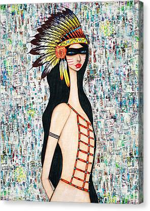 Canvas Print featuring the mixed media Angeni by Natalie Briney