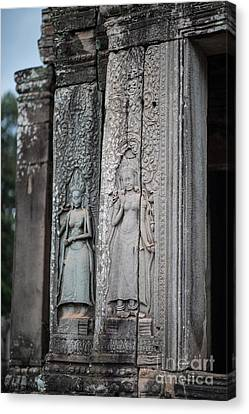 Angkor Apsaras Bas Relief Canvas Print by Mike Reid