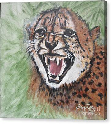 Growling Canvas Print - Blue Cat Productions      Angry Baby Cheetah by Sigrid Tune
