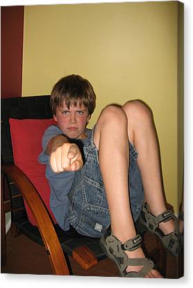 Angry Boy Pointing The Accusing Finger Canvas Print by Christopher Purcell