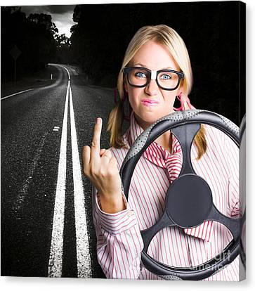 Angry Business Woman Expressing Road Rage Canvas Print by Jorgo Photography - Wall Art Gallery