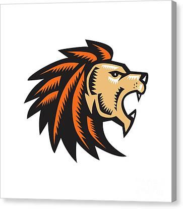 Angry Lion Big Cat Growling Head Woodcut Canvas Print by Aloysius Patrimonio