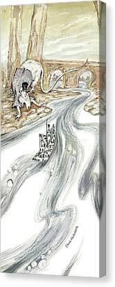 Angry Rat Pursuing Tin Soldier's Paper Boat - Tall Panoramic - Illustration Fragment Canvas Print by Elena Abdulaeva