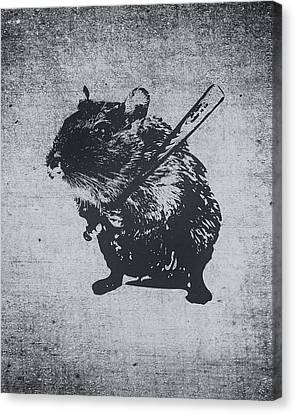 Angry Street Art Mouse  Hamster Baseball Edit  Canvas Print by Philipp Rietz
