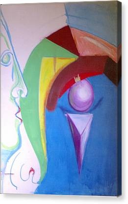 Canvas Print featuring the painting Angry Woman In The Shape Of A Queen Anne's Chair Leg by Rod Ismay
