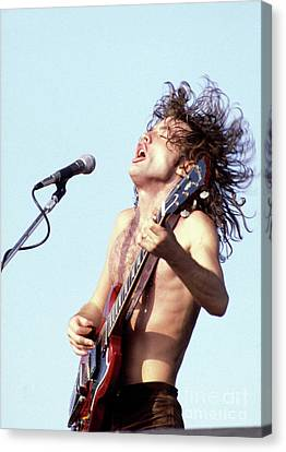 Canvas Print featuring the photograph Angus Young Ac/dc 1980 by Chris Walter