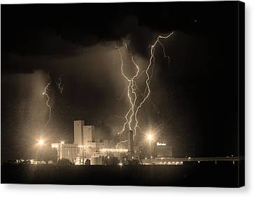 The Lightning Man Canvas Print - Anheuser-busch On Strikes Black And White Sepia Image by James BO  Insogna