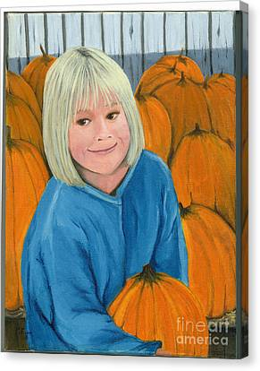 Canvas Print featuring the painting Ani In The Pumpkin Patch by Gail Finn
