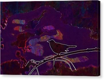 Canvas Print featuring the digital art Animal Bird Dark Nature Silhouette  by PixBreak Art