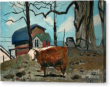 Canvas Print featuring the painting Animal Farm by Charlie Spear
