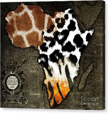 Animal Fur Map Of Africa Canvas Print by Mindy Sommers