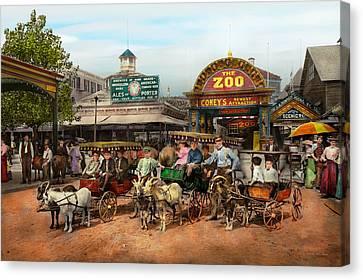 Animal - Goats - Coney Island Ny - Kid Rides 1904 Canvas Print by Mike Savad