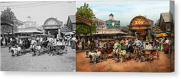 Animal - Goats - Coney Island Ny - Kid Rides 1904 Side By Side Canvas Print