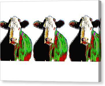 Animals Cows Three Pop Art Cows Warhol Style Canvas Print by Ann Powell