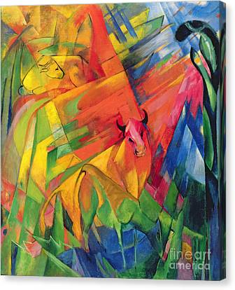 Animals In A Landscape Canvas Print by Franz Marc