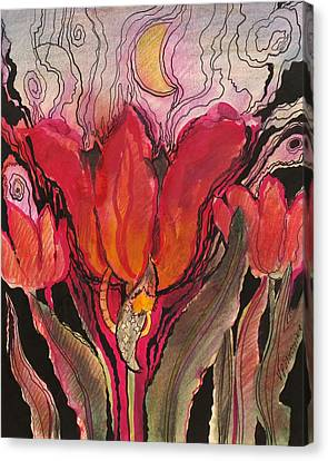 Animals In The Tulip Canvas Print