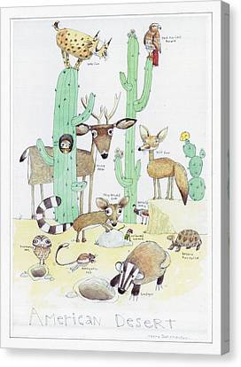 Animals With Cacti In Desert - F Canvas Print
