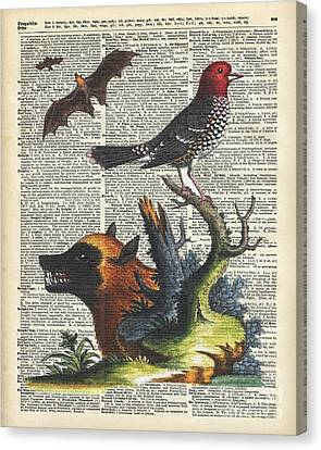 Watercolor With Pen Canvas Print - Animals Zoology Old Illustration Over A Old Dictionary Page by Jacob Kuch