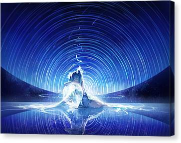 Anime Scenery Anime Girl Startrails Scenery                 Canvas Print by F S