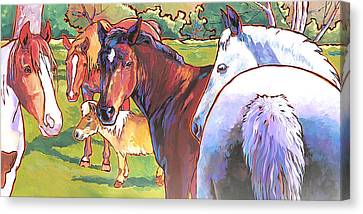 Canvas Print featuring the painting Anjelica Huston's Horses by Nadi Spencer