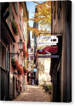Canvas Print featuring the photograph Ankengasse Street Zurich by Jim Hill