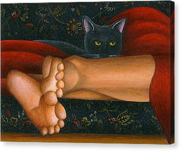 Ankle View With Cat Canvas Print